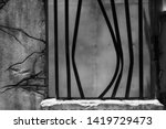 Small photo of Broken Jail Bars in Prison Window. Black and white color process with copy space for text. Jailbreak or