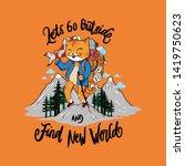 Stock vector cat adventure illustration good for your illustration t shirt wallpaper decoration 1419750623