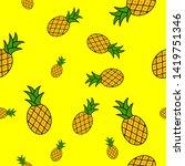 tropical ananas pineapple fruit ...   Shutterstock .eps vector #1419751346