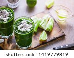 spinach and celery smoothies... | Shutterstock . vector #1419779819