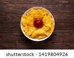mexican nachos chips with... | Shutterstock . vector #1419804926