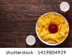 mexican nachos chips with... | Shutterstock . vector #1419804929