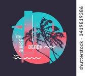 sunset beach. graphic t shirt... | Shutterstock .eps vector #1419819386