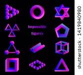 impossible figure set  optical... | Shutterstock .eps vector #1419840980
