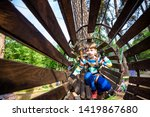 happy kid overcomes obstacles... | Shutterstock . vector #1419867680