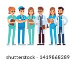 doctors set. medical staff team ... | Shutterstock .eps vector #1419868289