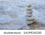 balance zen stones pyramid on...   Shutterstock . vector #1419924230