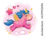 flying pink unicorn with a... | Shutterstock .eps vector #1419932696