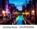 Stock photo amsterdam netherlands night view of red light district in amsterdam netherlands with sex shops 1419933056