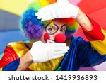 colorful clown face on a... | Shutterstock . vector #1419936893