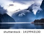 tourist boat cruising in... | Shutterstock . vector #1419943130