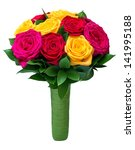 Bouquet Of Colored Roses Tied...