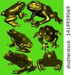 Golden Frog Statue Gold 3d...