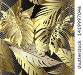 gold 3d palm leaves vector... | Shutterstock .eps vector #1419997046