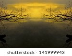 tree silhouettes and sunset on... | Shutterstock . vector #141999943
