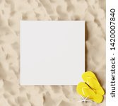 white paper on the beach with... | Shutterstock . vector #1420007840