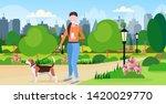 Stock vector woman walking with dog using smartphone social media network communication digital gadget addiction 1420029770
