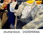 pile of clothes. closedup of...   Shutterstock . vector #1420040066