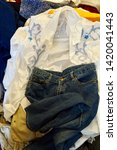 pile of clothes. closedup of...   Shutterstock . vector #1420041443