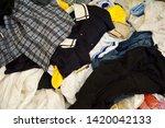 pile of clothes. closedup of...   Shutterstock . vector #1420042133