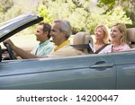 two couples in convertible car... | Shutterstock . vector #14200447