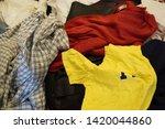 pile of clothes. closedup of...   Shutterstock . vector #1420044860