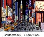 vector illustration of a night... | Shutterstock .eps vector #142007128