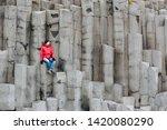 male traveler walking on rocky... | Shutterstock . vector #1420080290