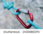 rope knot with red carabiner... | Shutterstock . vector #1420080293