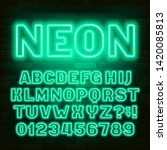green neon alphabet font. retro ...   Shutterstock .eps vector #1420085813