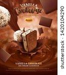 vanilla chocolate ice cream ads ... | Shutterstock .eps vector #1420104290