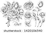 detailed hand drawn flowers set ... | Shutterstock .eps vector #1420106540