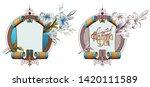 vector plant vignette for... | Shutterstock .eps vector #1420111589