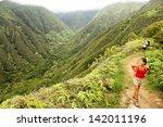 hiking people on hawaii  waihee ... | Shutterstock . vector #142011196