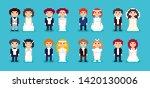 set of pixel art wedding... | Shutterstock .eps vector #1420130006