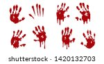 bloody hand print set isolated... | Shutterstock .eps vector #1420132703
