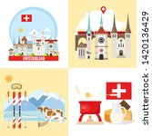 Switzerland backgrounds collection. Set with architecture, national flag, costume, food, cow, map and other swiss elements in flat style. Vector illustration