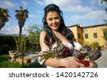 an italian woman  a housewife ... | Shutterstock . vector #1420142726