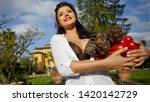 an italian woman  a housewife ... | Shutterstock . vector #1420142729