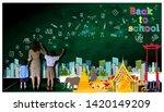 teacher hand in hand male... | Shutterstock . vector #1420149209