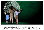 teacher hand in hand male... | Shutterstock . vector #1420158779