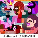 people got scared big angry dog ... | Shutterstock .eps vector #1420164080