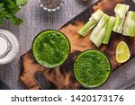 spinach and celery smoothies... | Shutterstock . vector #1420173176