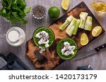 spinach and celery smoothies... | Shutterstock . vector #1420173179