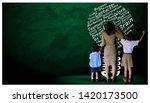 teacher hand in hand male... | Shutterstock . vector #1420173500