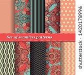 set of trendy seamless floral... | Shutterstock .eps vector #1420178996