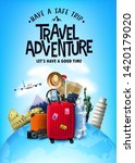 realistic 3d adventure tourism... | Shutterstock .eps vector #1420179020