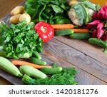 top view farmer market goods on ... | Shutterstock . vector #1420181276
