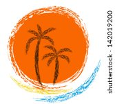 vector logo. ocean waves  palm... | Shutterstock .eps vector #142019200