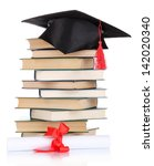grad hat with diploma and books ... | Shutterstock . vector #142020340